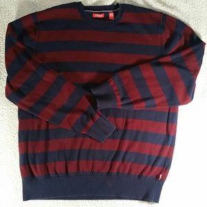 Izod navy maroon stripe sweater Large light cotton